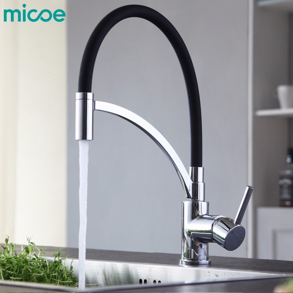micoe kitchen faucet hot and cold single hole faucet black chrome nozzle mixer 360 rotary cleaning vegetable faucet micoe hot and cold water basin faucet mixer single handle single hole modern style chrome tap square multi function m hc203