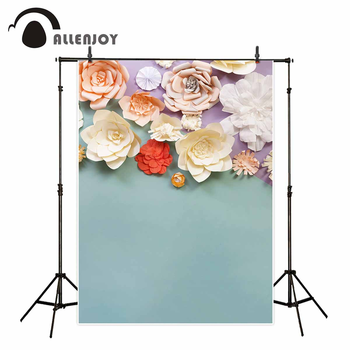 Allenjoy photography backdrops Paper flowers blue background 3D effect for a photo shoot for the photo party for the photo