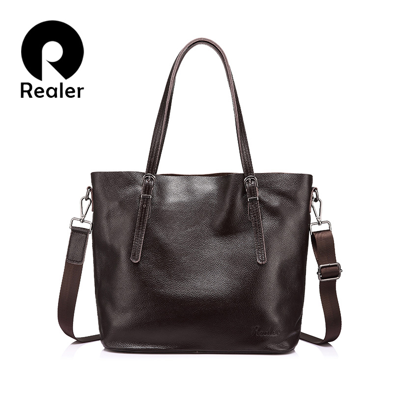 REALER brand women genuine leather bag female shoulder bag with large capacity ladies handbag high quality cow leather Tote bags