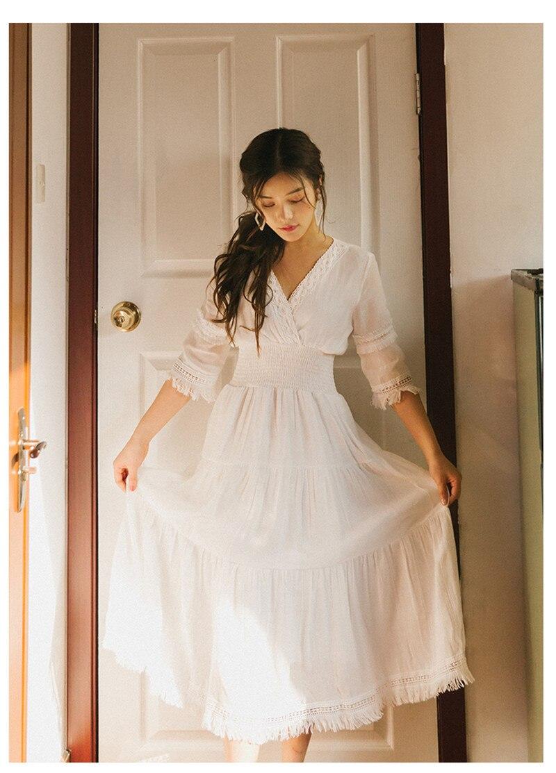 Blanc femmes dentelle solide piste grande balançoire longue robe 2019 nouveau printemps haut de gamme Designer femmes décontracté col en V fête longues robes