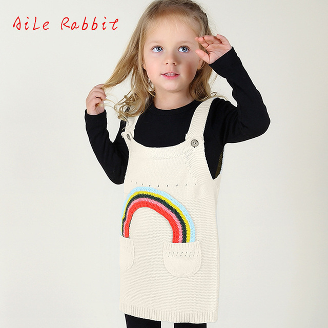 04a31f523 Girls Cotton Sweater Dress Spring and Summer Baby Rainbow Sleeveless ...