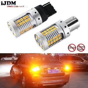 Image 1 - IJDM سيارة 7440 LED لا فرط فلاش العنبر الأصفر 48 SMD 3030 LED T20 W21W 1156 7507 BAU15S LED لمبات لتحويل أضواء الإشارة ، Canbus