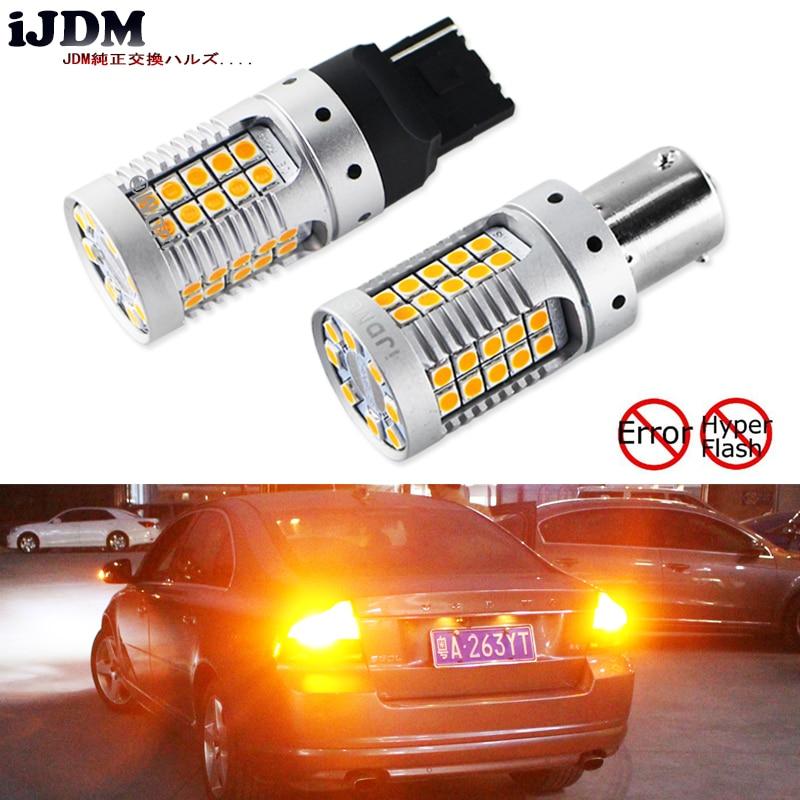 O diodo emissor de luz do carro 7440 de ijdm nenhum amarelo âmbar do flash hyper 48-smd 3030 conduziu t20 w21w 1156 7507 bau15s lâmpadas conduzidas para luzes do sinal de volta, canbus