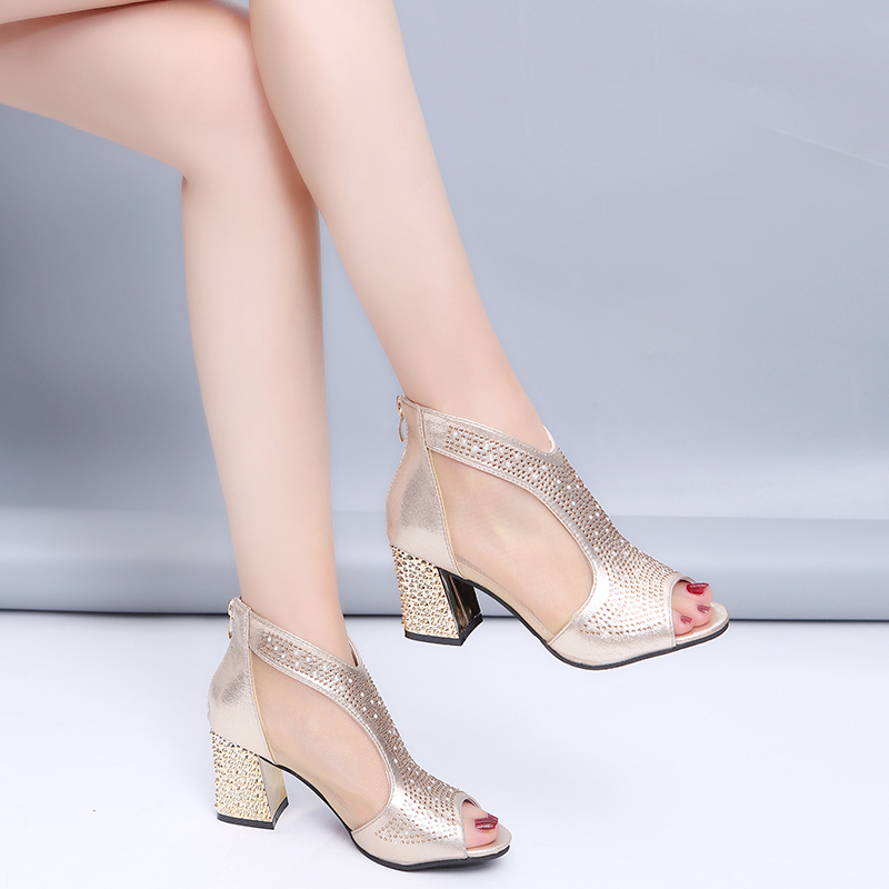HTB18D4Vgr1YBuNjSszhq6AUsFXa3 Fashion 2019 Women Sandals Bling 7cm High Heels Diamond Summer Square Heel Women Shoes Wedding Shoes Leather Sandalia Mujer m637