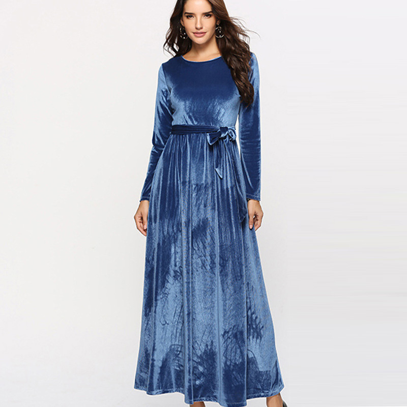 07c2939b9a3fa Saimishi Zip-Back Self Belted Casual Swing Dress Spring Autumn Fashion Long  Sleeve Women Velour Dress O-Neck Velvet Maxi Dress