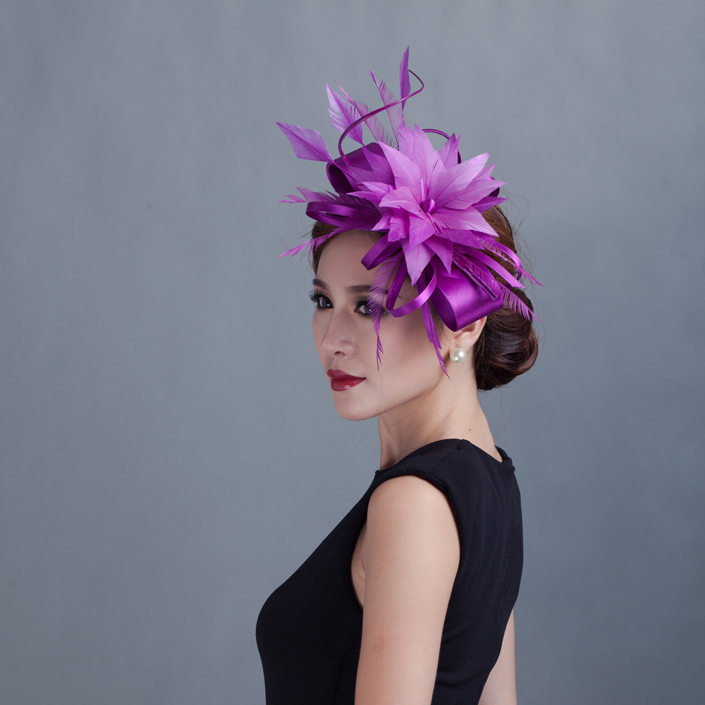 f7d3d26ef84ea Purple Red PInk Navy Black Green Floral Feather Fascinator Girls Hair Clips  Women Church Festival Wedding
