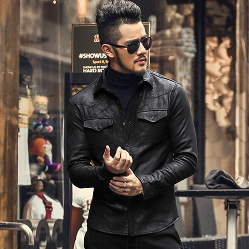 Leather Shirts Men high Quality black shirt