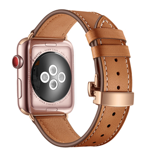 Image 5 - High quality Leather Band for Apple Watch Series 4 44mm 40mm Rose gold Butterfly clasp Strap watchband for iWatch 3/2/ 42mm 38mm