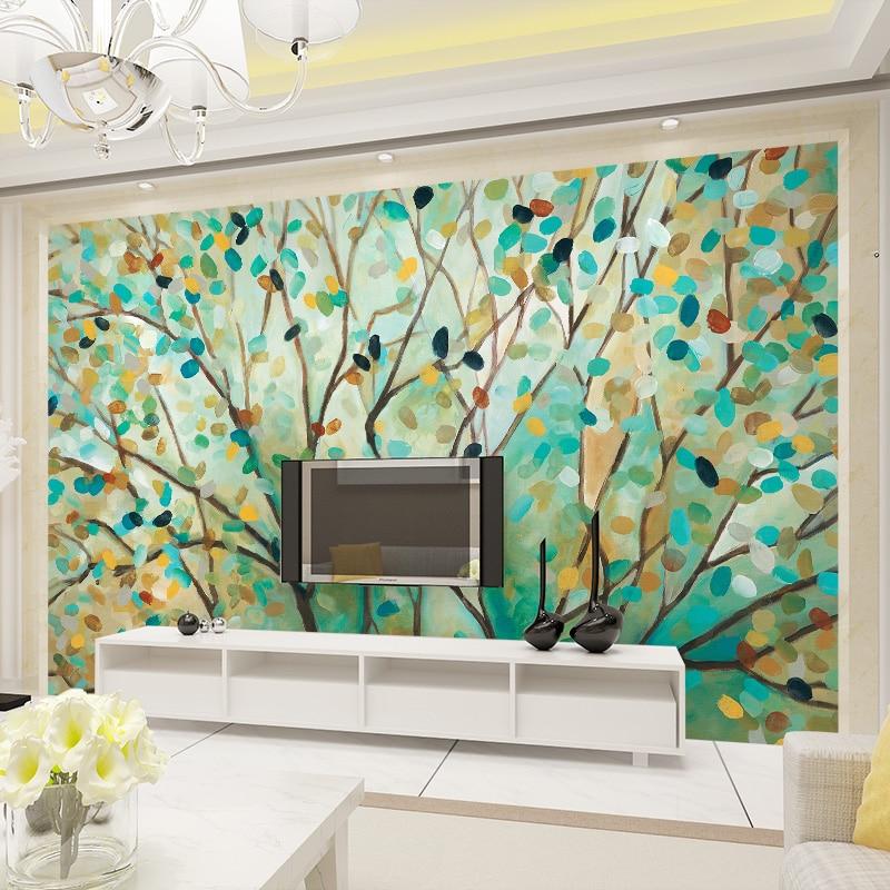 Beibehang oil painting mural cartoon flowers tree photo for Cartoon mural painting