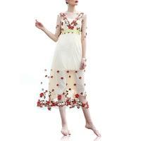 middle sleeve waist waist slim, heavy embroidery, big pendulum, long net gauze embroidered dress WeChat free agent.