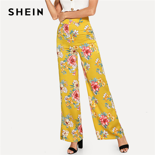 44e5ca4eb5a61 SHEIN Multicolor Vacation Boho Bohemian Beach Wide Leg High Waist Floral  Print Holiday Pants Autumn Women Casual Trousers