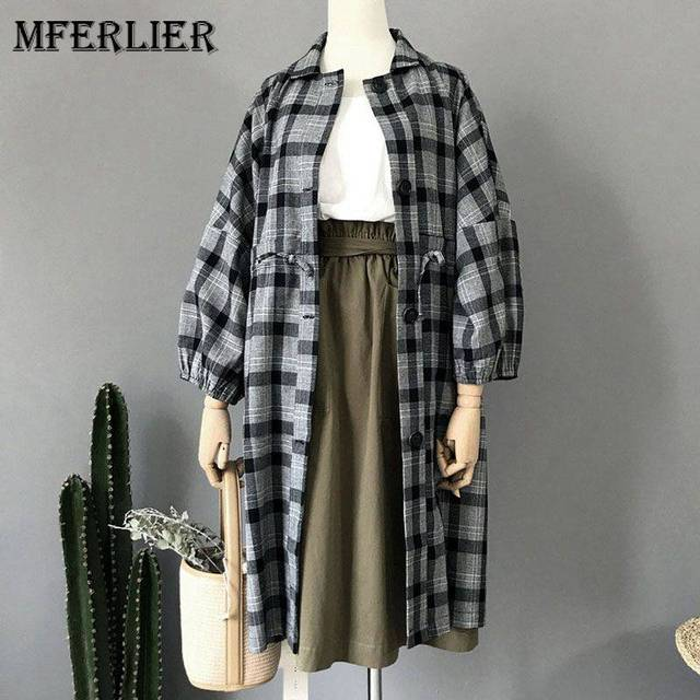 971160f6f89 Mferlier Autumn Long Trench Coat Turn Down Collar Single Breasted Lantern  Sleeve Pleated Waist Plaid Trench Coat