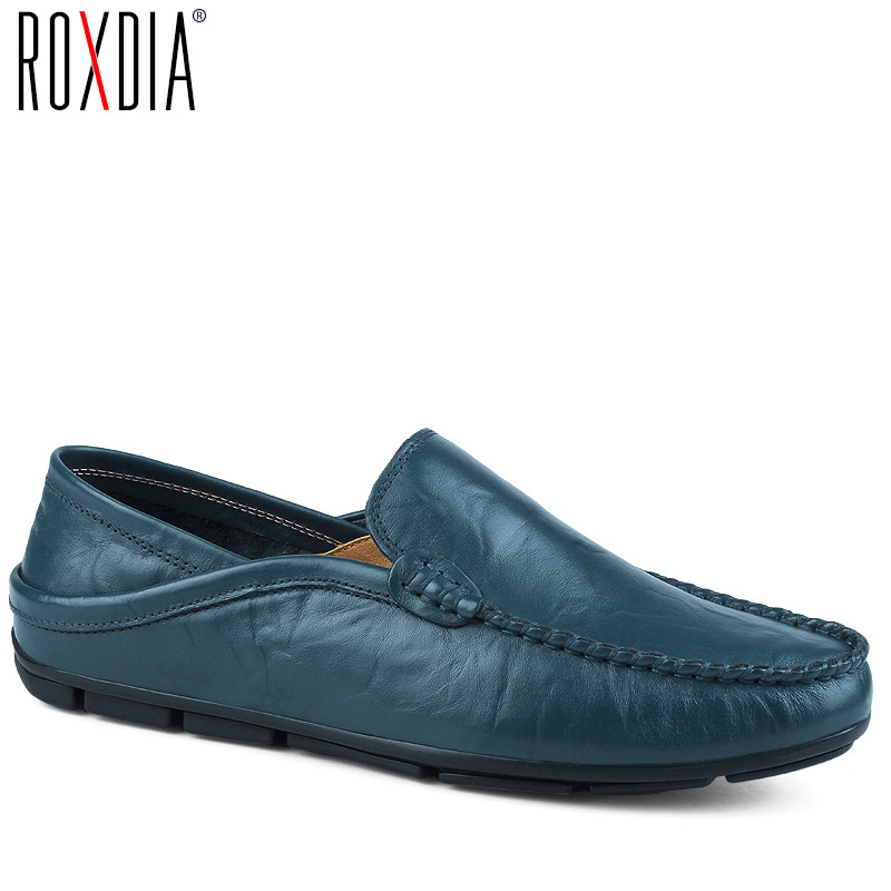 ROXDIA genuine leather men loafers mens shoes casual breathable flats male driver shoes plus size moccasins 39-48 RXM080