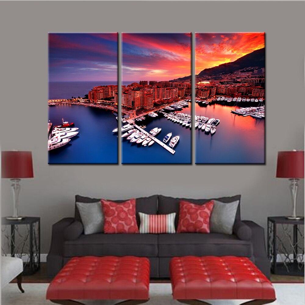 Комплект из 3 предметов пейзаж холст фотографии для Гостиная Pier лодка Плакаты и принты Nordic Главная Наклейки на стену дропшиппинг не оформле...