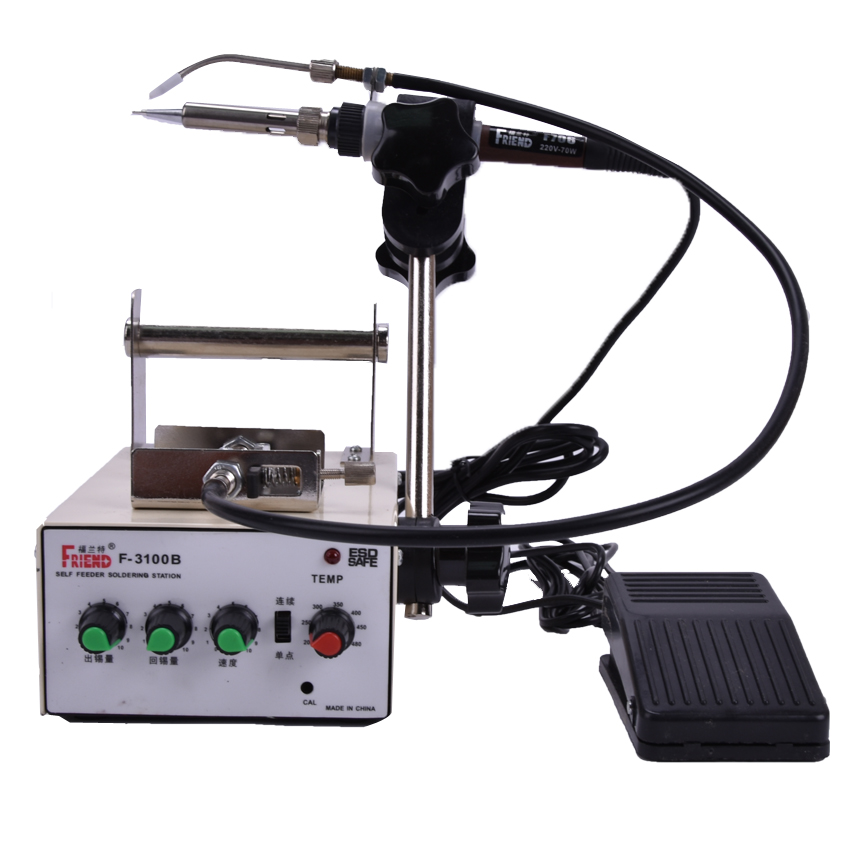 Automatic tin feeding machine constant temperature soldering iron Teclast iron F3100B multi-function foot soldering machine 1pcs 1pcs automatic soldering iron machine tin feeding constant temperature soldering iron pedal soldering machine fixed type iron