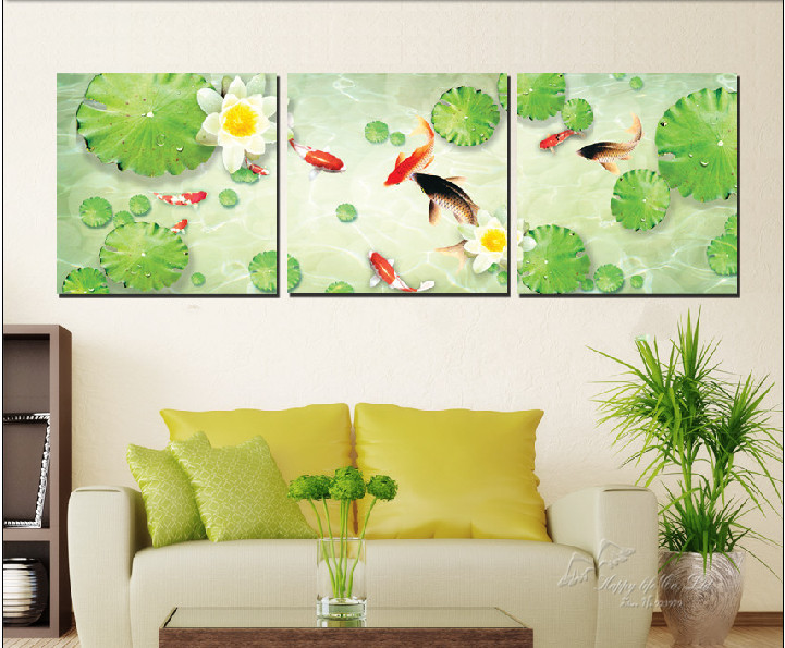 Home Decorative Art Picture Oil Painting Canvas Prints Wall Art 3 Pieces Modern Painting Lotus Flowers