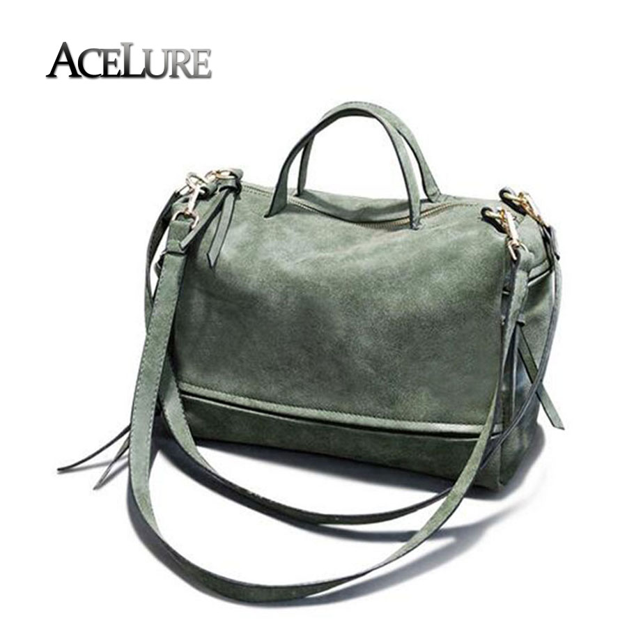 Women pu leather handbags female vintage nubuck crossbody bags green tote bag bo