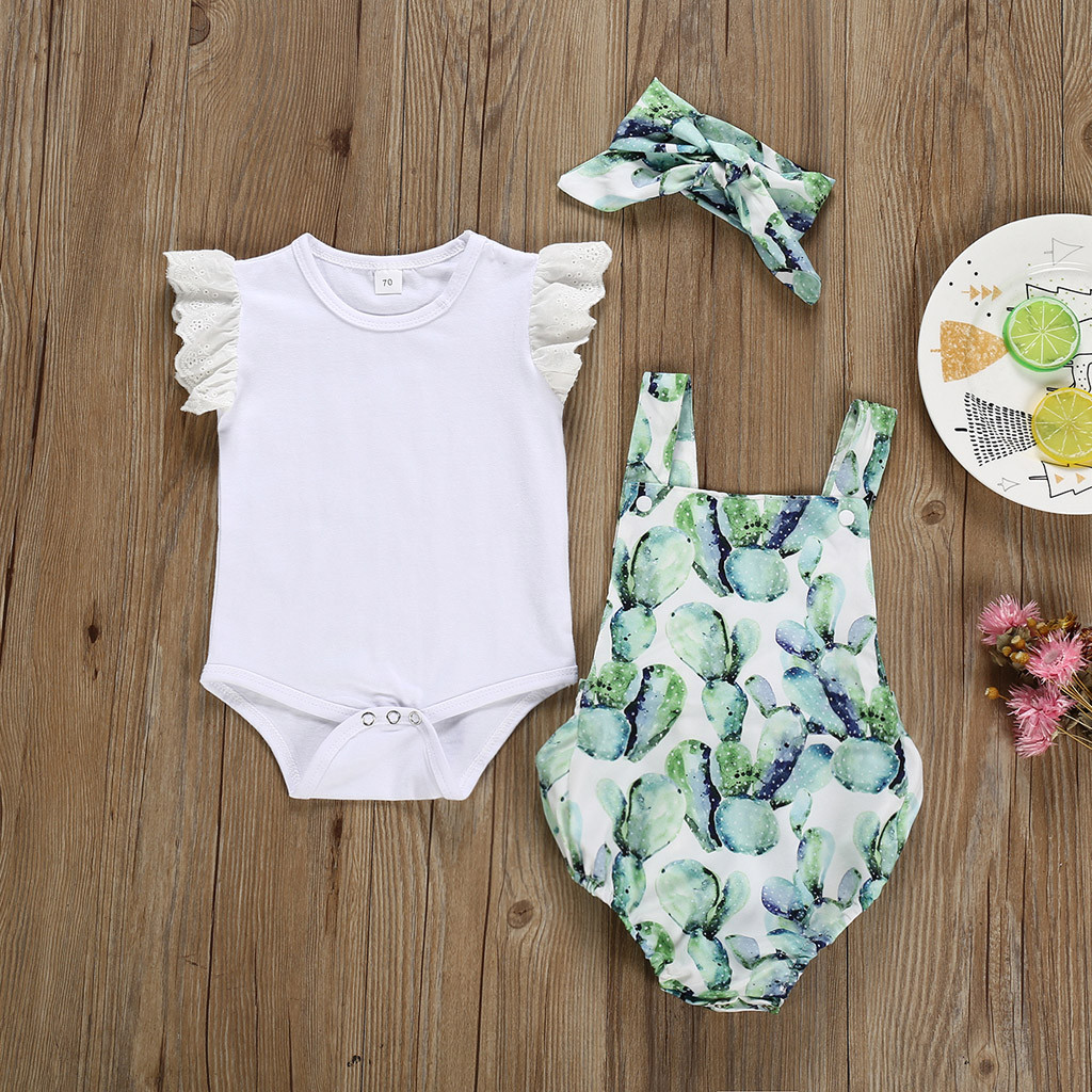 Infant Newborn Baby Girls Clothes Cacuts Ruffe Romper Bodysuit Jumpsuit Outfits