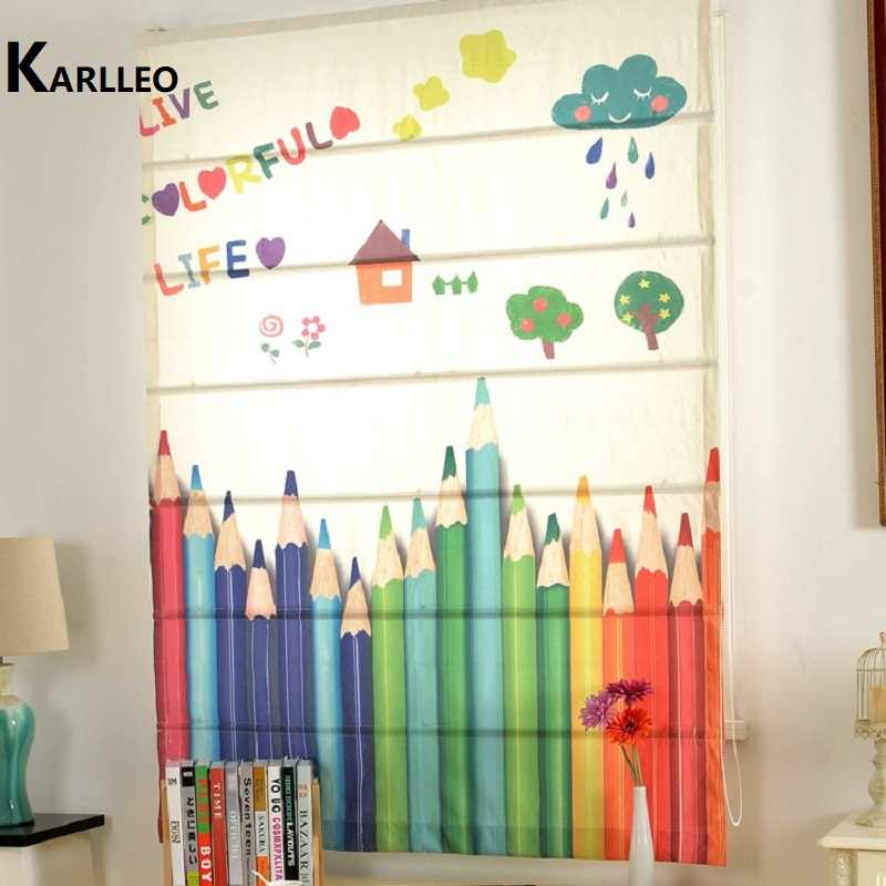 Blackout / Light filter Roman Curtain For Children's Study Room (Rainbow Pencil)
