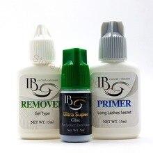 Free Shipping IB Ultra Super Glue llash primer lash remover set for Eyelash Extensions fast dry long holding time Korea glue