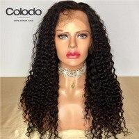 COLODO Натуральные Черные Кудрявые кудрявые парики 360 синтетический фронтальный парик человеческих волос с волосами младенца индийские волос