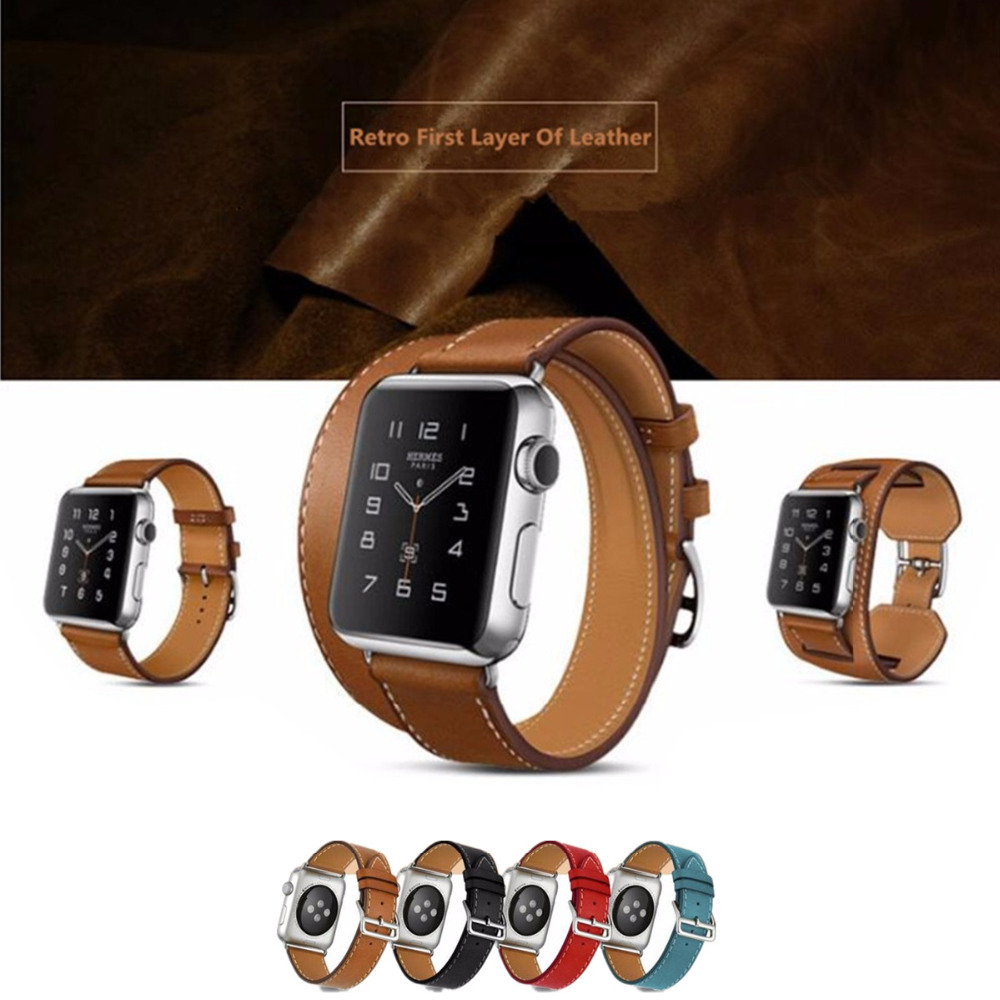 LNOP Genuine Leather watch band strap for hermes apple watch 42mm/38mm bracelet clasp buckle leather strap for iwatch 3/2/1 leather double buckle cuff band for apple watch 38mm 42mm strap bracelet