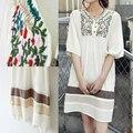 2016 venta caliente envío gratis vintage 70 s campesino bordado mexican dress embarazada largo vestidos para mujer blusa 11 colores