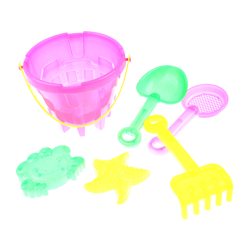 6 Pcs/set Portable Kids Beach Sand Game Toys Set Shovels Rake Hourglass Bucket Children Outdoor Beach Playset Role Play Toy Kit