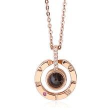 Nano выгравированы I LOVE YOU в 100 языках цепочки и ожерелья розовое золото Мода Романтический 925 пробы серебро для женщин украшения для подарок