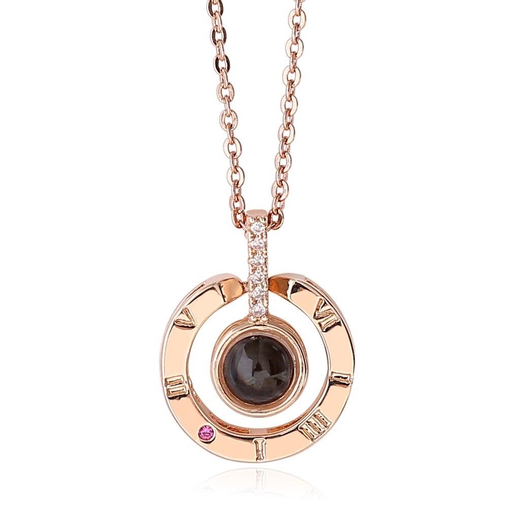 Nano gravé je t'aime en 100 langues collier or Rose mode romantique 925 en argent Sterling femmes bijoux pour amoureux cadeau