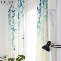 Йо Чо Весна листья ивы плотные шторы для гостиной в пасторальном стиле шторы на окне, ткань с принтом 3D Декор окна