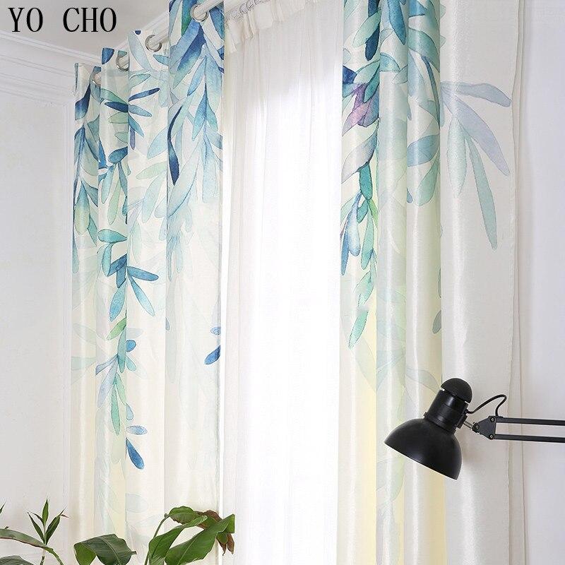 YO CHO printemps saule feuilles rideaux occultants pour salon style pastoral fenêtre rideaux tissu imprimé 3d fenêtre décoration