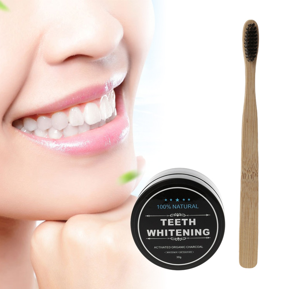 Toothbrush Bamboo Whitening Tooth Powder Organic Activate Charcoal Toothpaste & Toothbrush Make Up image