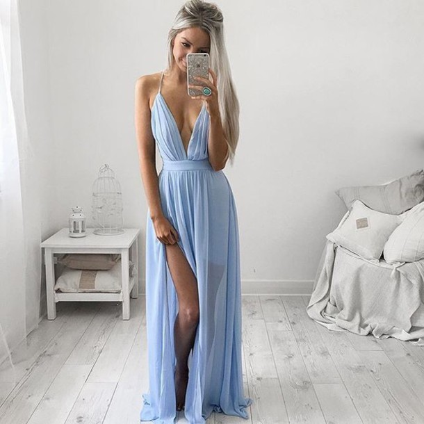 Sexy Light Blue Chiffon V neck Prom gown 2018 A line Side Split robe de soiree longue Party vestido de noiva   bridesmaid     dresses