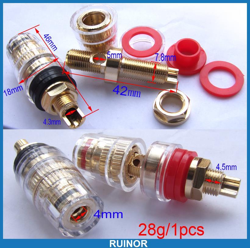 ФОТО 12pcs Copper Gold Plating Binding Post for Speaker Amplifier 4mm Banana Plug