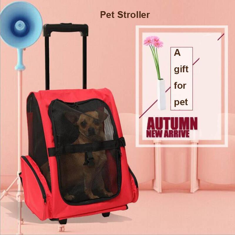 Pet dual purpose dual wheel trackless duffel bag carrier dog and cat travel bag shoulder bag multi purpose fashion roller