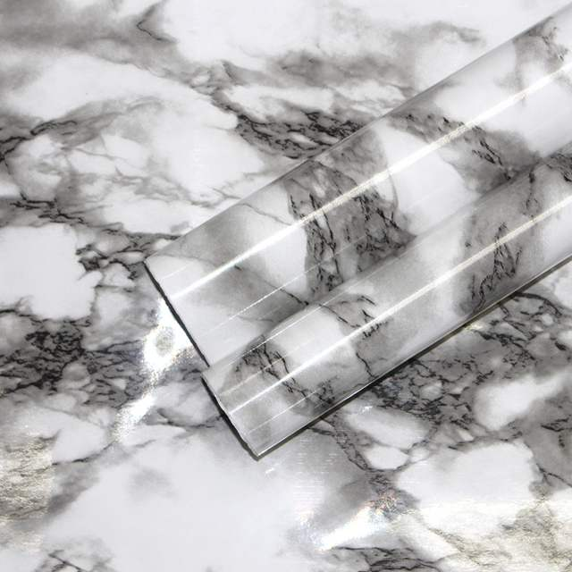 Haokhome 3d White Black Marble Peel And Stick Wallpaper Contact Paper Gloss Vinyl Film Self Adhesive Furniture Stickers Drawer