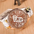 Paradise 2017 Fashion Love Gift Heart Pattern Flower Leather Band Quartz Analog Wrist Watch wholesale  11