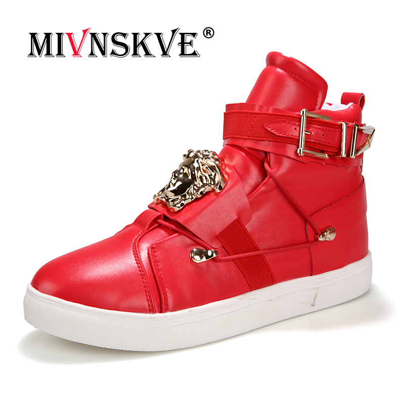 MIVNSKVE Casual dancing Sneakers Hip Hop Shoes High Top Casual Shoes Men Patent Leather Flat Shoes zapatillas deportivas hombre men baseball caps skull embroidered logo flat top hats cotton snapback flat cap army cadet hat women gorros hombre hip hop