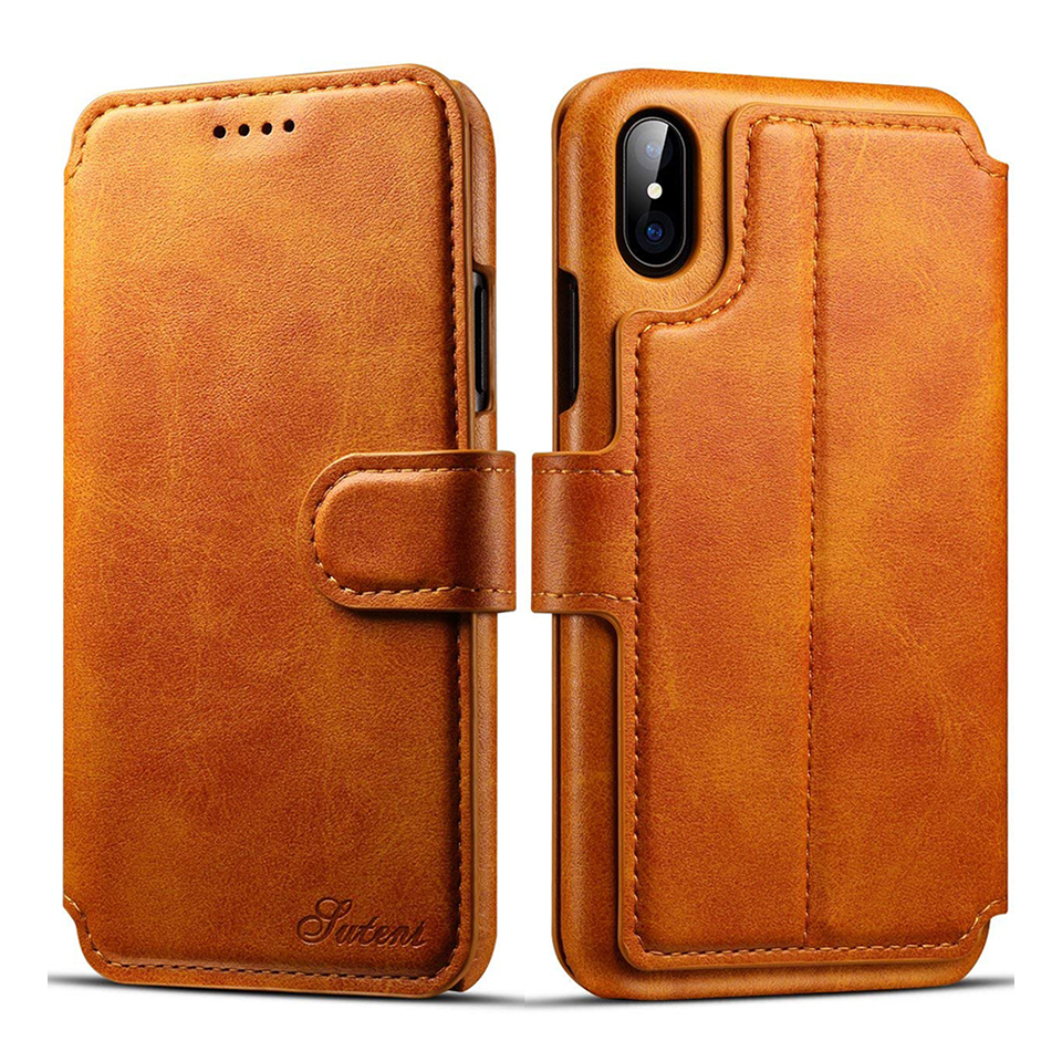 Flip Retro Leather Case For iPhone 6 6s 7 plus 8 8plus x Plus Luxury Card Holder Wallet Cover For samsung s8 s8plus Phone Bag