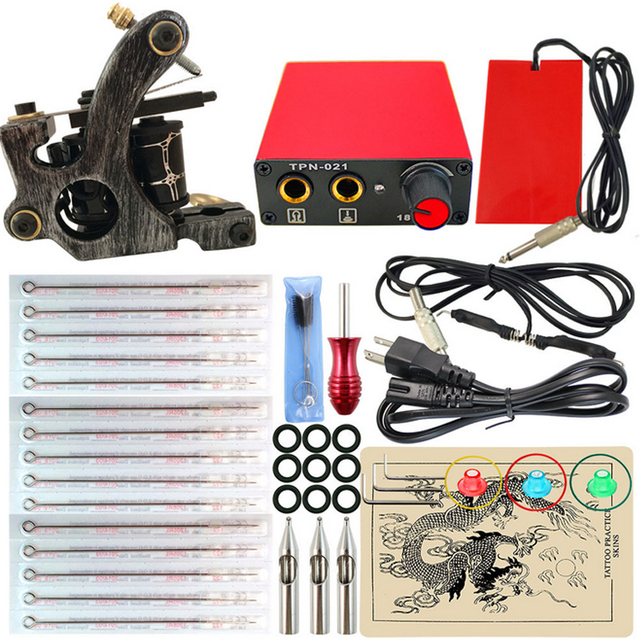 Beginner Tattoo Kit 1 Tattoo Machine Gun Power Supply Cord Kit Body