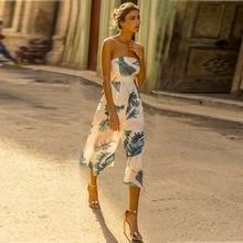 2017 Сексуальная с плеча женщины комбинезон листьев Мода без бретелек летом боди сочетание Femme пляж комбинезон женские комбинезон T2