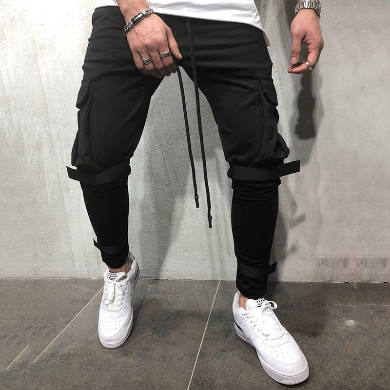 2019 NEW fashion Men's   Jeans   Long Cargo Pants Work Casual Trousers   Jeans   Retro Solid color slim casual sports pants