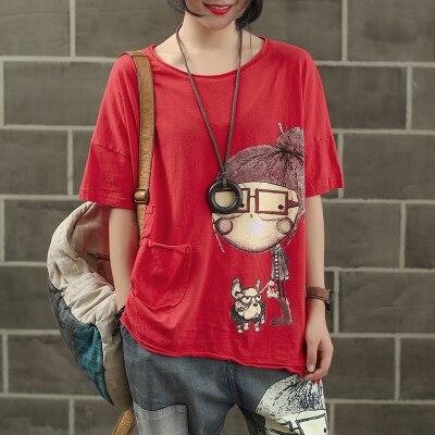 Женская модная брендовая летняя винтажная Лоскутная футболка с принтом собачки из мультфильма для маленькой девочки, Милая Короткая Женская Повседневная футболка - Цвет: red