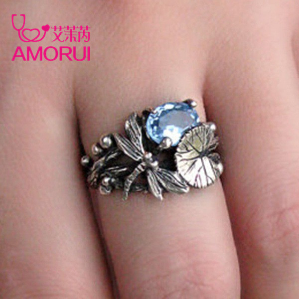 AMORUI New Fashion Silver Black Lotus Leaf Dragonfly Party Ring 6/7/8/9/10 Size Copper Rings for Women Anniversary Gifts Jewelry 3