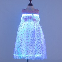 Multicolored LED light princess skirt with a sleeveless skirt Summer cool and breathable fiber luminous princess skirt
