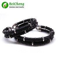 BC luxury gentleman gift leather jewelry rnatural Python skin bracelet men bangle