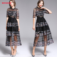 Summer Women Dress 2019 Sexy Vintage Bodycon Elegant Lace Mesh Maxi embroidery Sequin Casual Retro Club party Long Black Dress