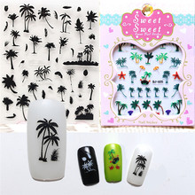 Summer Style Coconut Trees Beach Shoes Nail Water Decals Transfer Stickers Black Feather Leaves Nail Art Stickers Tattoo Decal 1x nail art water stickers nail decals stickers water transfers decal black white red rose yu32