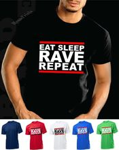 Eat Sleep Rave Repeat T shirt House DJ HTID Hardcore Acid IBIZA Armin van Buuren Shirt Black Style free shipping